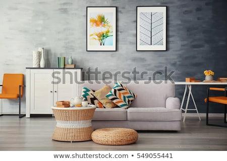 Modern lakberendezés virágok belső tárgyak terv Stock fotó © manera