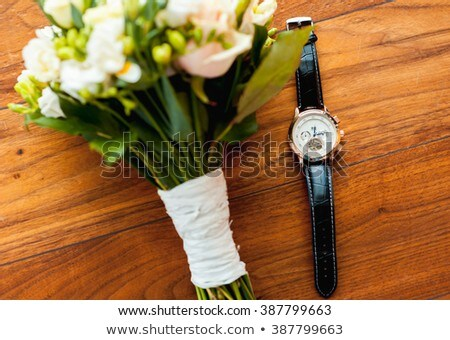bridal bouquet and watches on wooden floor Stock photo © ruslanshramko
