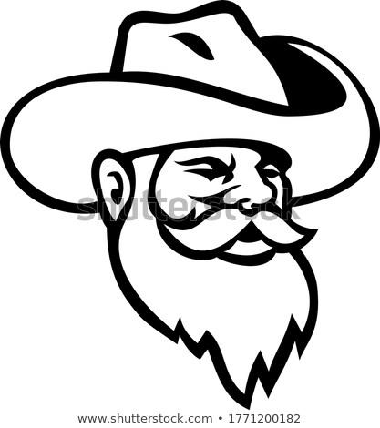 Cabeça barba chapéu de cowboy mascote preto e branco Foto stock © patrimonio