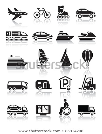 Stock photo: Set of simple transport icons with reflection