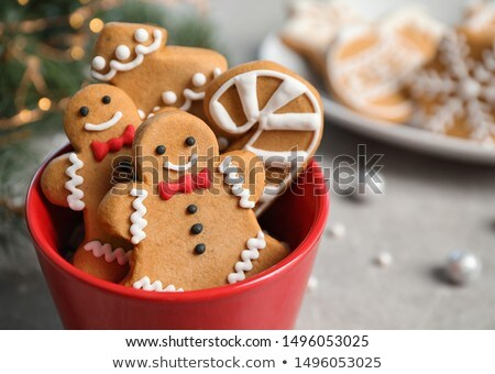 Gingerbread man kurabiye gıda kek beyaz tatil Stok fotoğraf © M-studio