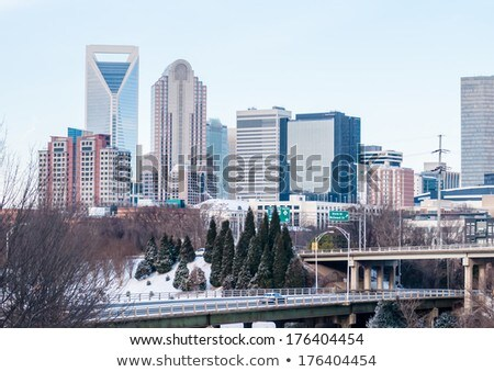 Stock photo: charlotte nc skyline covered in snow