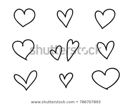 kézzel · rajzolt · szívek · minta · végtelenített · ismétlés · feketefehér - stock fotó © ivaleksa