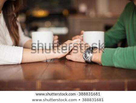 Casal café restaurante feliz homem tabela Foto stock © wavebreak_media