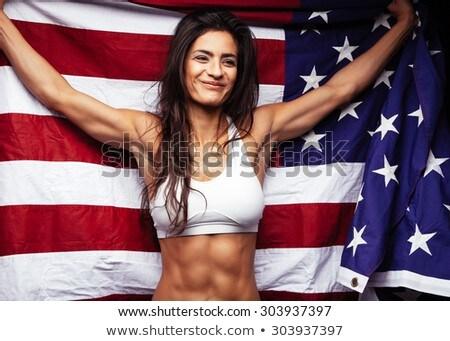 Atléta USA zászló égbolt férfi sport Stock fotó © IS2