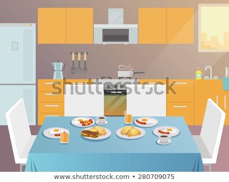 カプレーゼサラダ · テーブルクロス · 表示 · 表 · カプレーゼ · プレート - ストックフォト © robuart