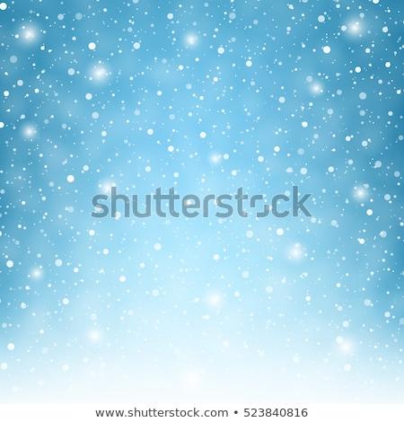 Luz azul neve muitos grande pequeno floco de neve Foto stock © romvo