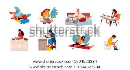 Fiatal felhasználó dolgozik laptop fotel fejhallgató Stock fotó © RAStudio