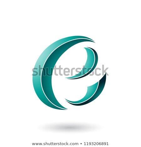 persian green striped crescent shape letter e vector illustratio stock photo © cidepix