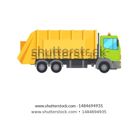 Modern Huge Garbage Truck with Long Yellow Trunk Stock photo © robuart