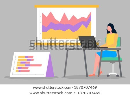 Woman Working on Laptop, Infochart on Board Vector Stock photo © robuart