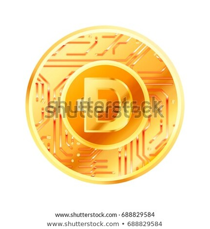 Bright golden coin with microchip pattern and Dogecoin sign. Cryptocurrency concept on white Stock photo © evgeny89