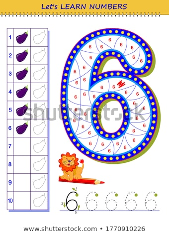 Color by number educational game for kids. Illustration for schoolchild - fish Stock photo © natali_brill