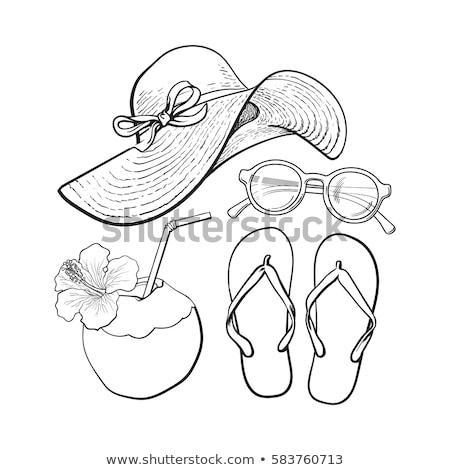 Flip flops, sunglasses and a cap Stock photo © leeser