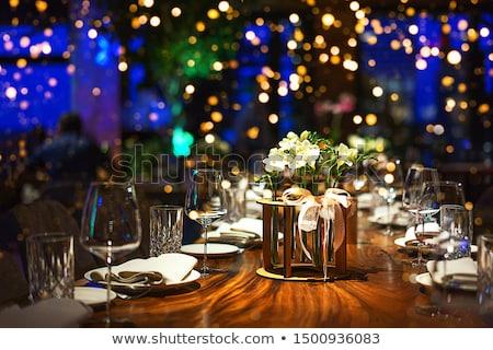 azul · copo · de · vinho · branco · comida · restaurante · escuro - foto stock © yul30