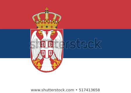 Bandeira Sérvia pólo vento branco Foto stock © creisinger