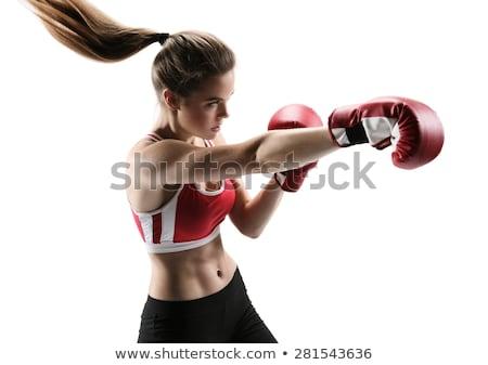 mooie · meisje · bokshandschoenen · jong · meisje · naar · krachtig - stockfoto © Hofmeester