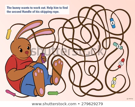 kids puzzle to help the bunny untangle his rope stock photo © adrian_n