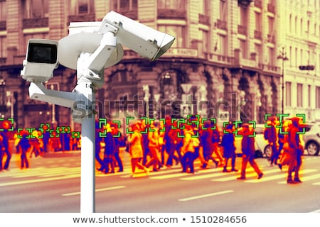 Recording with Thermal camera people walking the city streets Stock photo © smuki