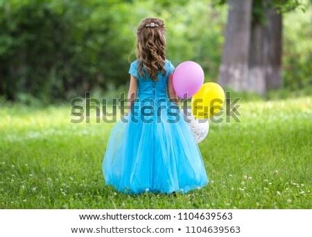 блондинка · синий · платье · желтый · шаре · женщину - Сток-фото © dmitriisimakov