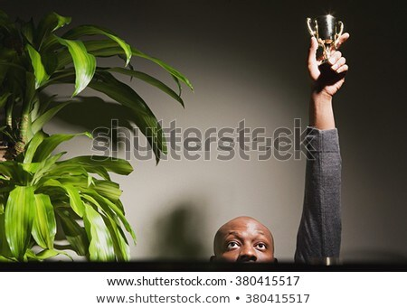 African businessman hold golden award cup stock photo © studioworkstock