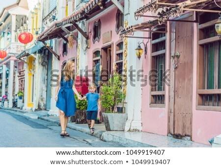 Anya fiú öreg házak óváros Malajzia Stock fotó © galitskaya