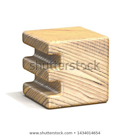 Stock photo: Solid wooden cube font Number 3 THREE 3D