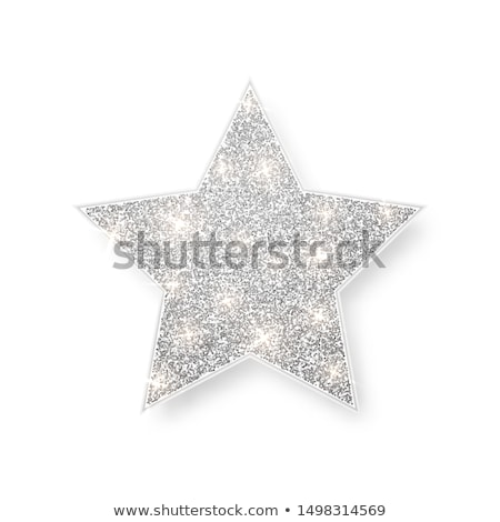 Silver shiny glitter glowing star with shadow isolated on white background. Vector illustration Stock photo © olehsvetiukha