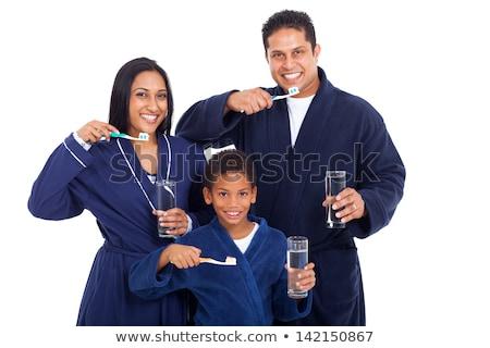 Indian Mann Zahnbürste Zahnpasta Zähne Reinigung Stock foto © dolgachov