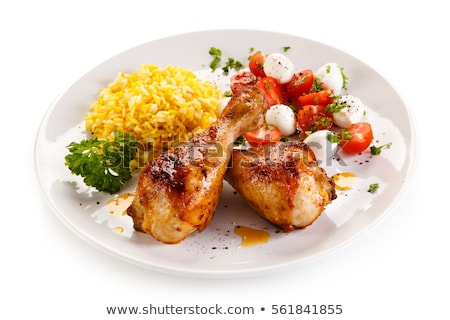Portion of white rice and fried vegetables Stock photo © Alex9500