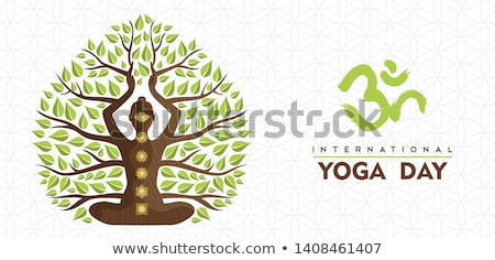 Yoga Day banner of woman in tree pose exercise Stock photo © cienpies
