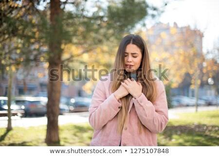 Boldogtalan nő szívroham szívfájdalom emberek egészségügy Stock fotó © dolgachov