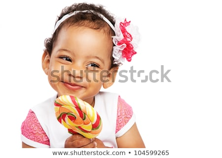 happy african american woman with big lollipop Stock photo © dolgachov