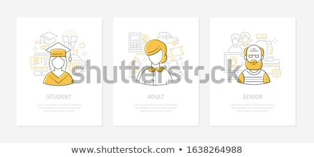 Humaine âge ligne design style bannières Photo stock © Decorwithme