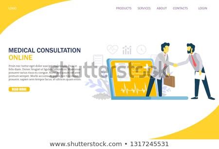 Távoli gyógyszer szalag elrendezés sablon weboldal Stock fotó © tashatuvango
