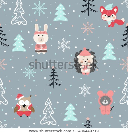 Cute vector seamless pattern with woodland animal characters in pink colors - owl, fox hedgehog  Stock photo © Pravokrugulnik