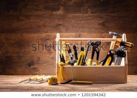 Toolbox verschillend muur hout bouw Stockfoto © AndreyPopov
