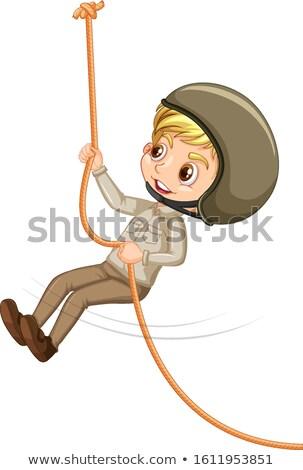 Menino escoteiro escalada corda branco ilustração Foto stock © bluering