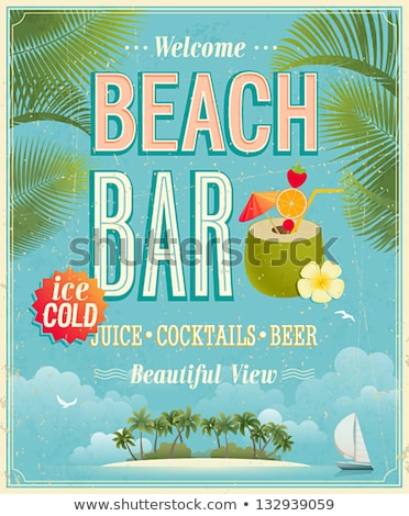 Best Vacations On Beach Advertising Poster Vector Stock photo © pikepicture