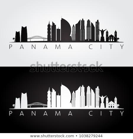 Panama zwart wit silhouet eenvoudige toerisme Stockfoto © ShustrikS