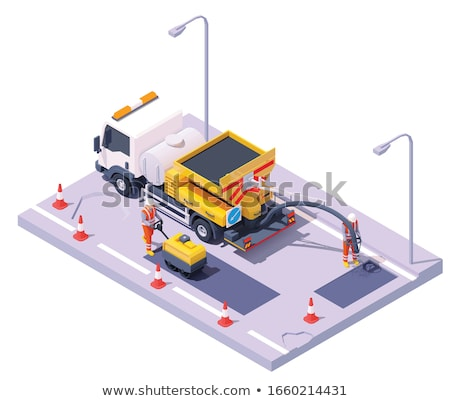 Vector isometric road potholes spray injection repair Stock photo © tele52