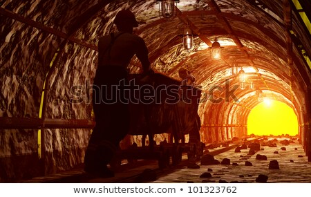 Man Working on Mining Industry, Miner with Cart Stock photo © robuart