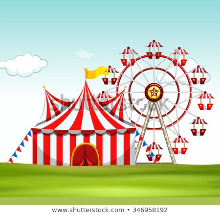 Cena circo tenda parque ilustração árvore Foto stock © bluering