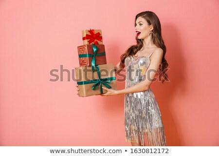 女性 明るい ドレス 現在 ギフトボックス ストックフォト © deandrobot