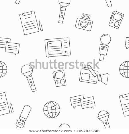 Journalist Reporter Seamless Pattern Vector Stock photo © pikepicture