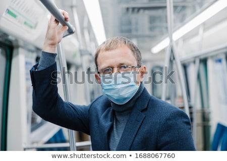 Coronavirüs önleme adam ofis çalışanı şeffaf gözlük Stok fotoğraf © vkstudio