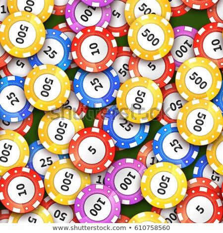 Verschillend kleurrijk casino chips groene doek Stockfoto © evgeny89