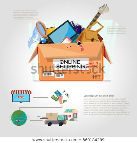 配達用トラック 段ボール ボックス クリック オンラインショッピング 金属 ストックフォト © yupiramos