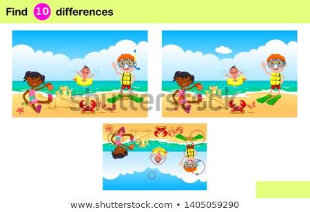 Különbségek oktatási játék rajzolt emberek rajz illusztráció Stock fotó © izakowski