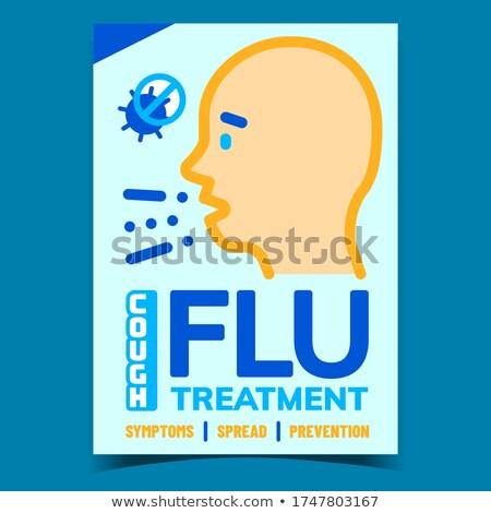Influenza köhögés kezelés kreatív promo szalag Stock fotó © pikepicture